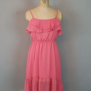 Poetry Ruffle Romantic Coral Dress Womens Size Sm